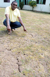 Samuela Vunisina showing the impact of the dry spell at Nailaga Village in Ba. Photo: Waisea Nasokia