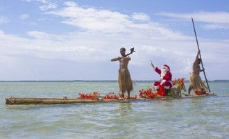 Santa Claus Visits Outrigger On A Raft