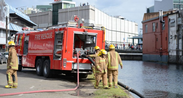 Firefighters Battle In Competency Drill