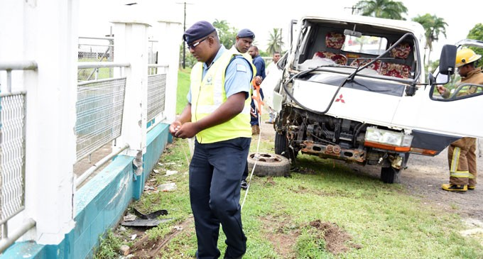 Truck Hits Mosque Fence