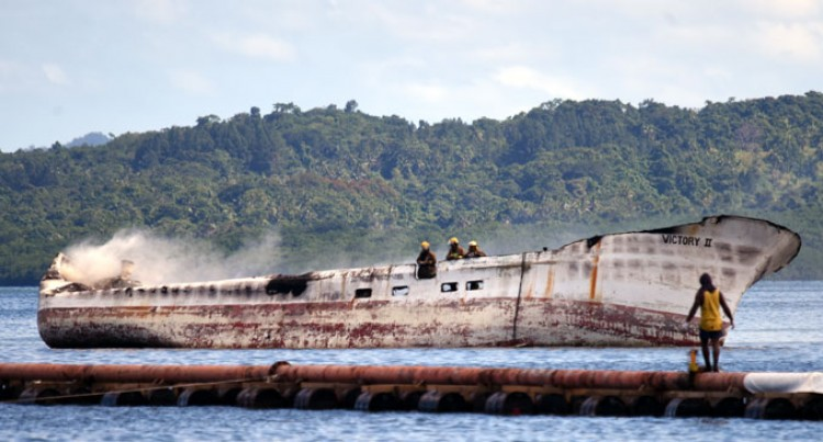 Derelict Ship On Fire