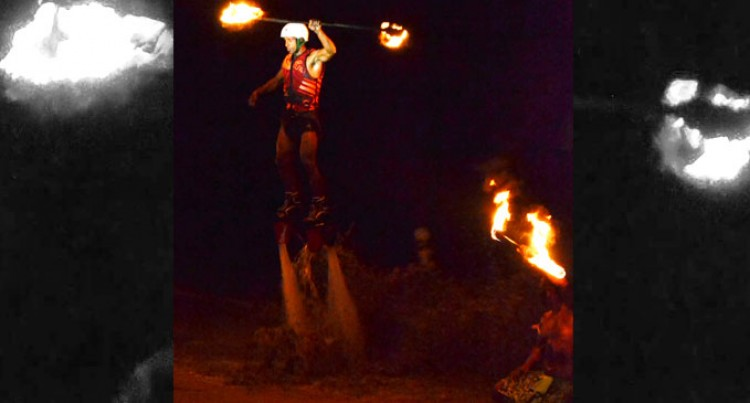 World's First Fly Boarding Fire Dance Launched