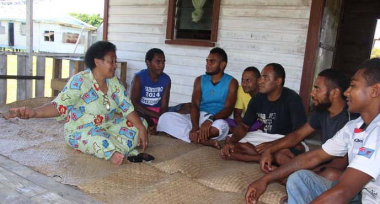 Bank South Pacific  talks to Cikobia villagers