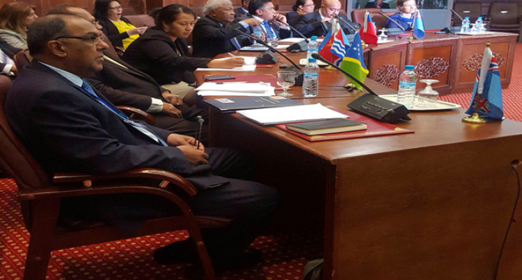 Fiji's Head Of Delegation Addresses Working Session At The World Integration Of Pacific States Forum In Rabat