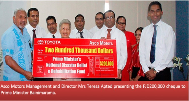 Toyota South Sea  Limited Boost PM's Disaster & Rehabilitation Fund