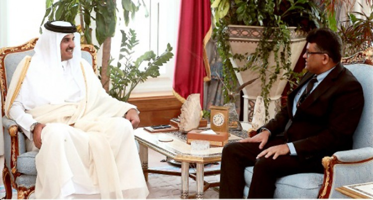 Kamlesh Prakash Presents Credentials to Qatar Prince