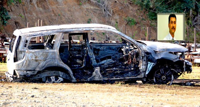 The vehicle which was found burnt at FSC Grounds in Lautoka yesterday. Photo: Kathrin Krishna