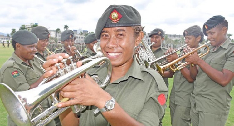 Nine Women In Republic Of Fiji  Military Forces Band For Parade