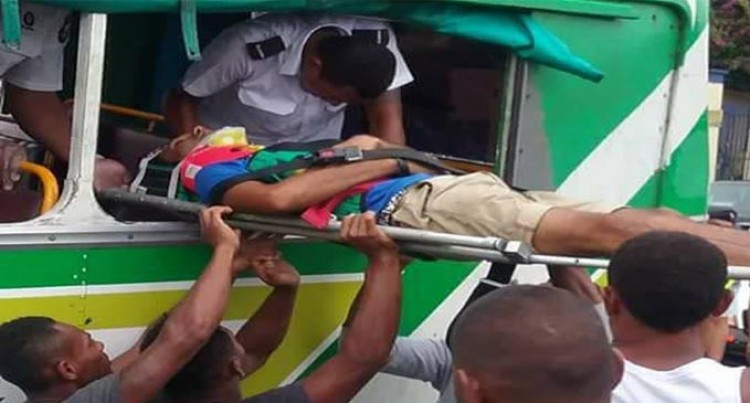 Bus Crash Lands Man In Hospital