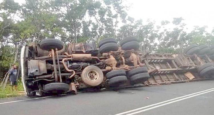 Truck Tumbles Along Nabouwalu Highway