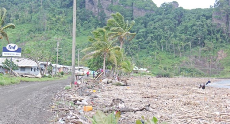 Debris On Ovalau  Eastern Coastline