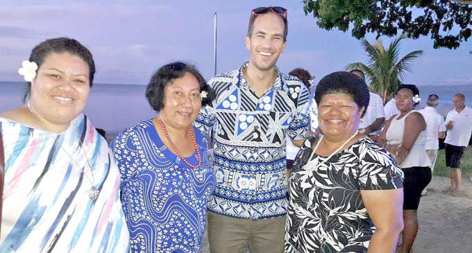 Tourism Fiji chief executive, Matthew Stoeckel (third from left) with women at the Sofitel Fiji Resort and Spa on Friday.