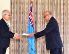 German Envoy Presents His  Credentials To President Konrote