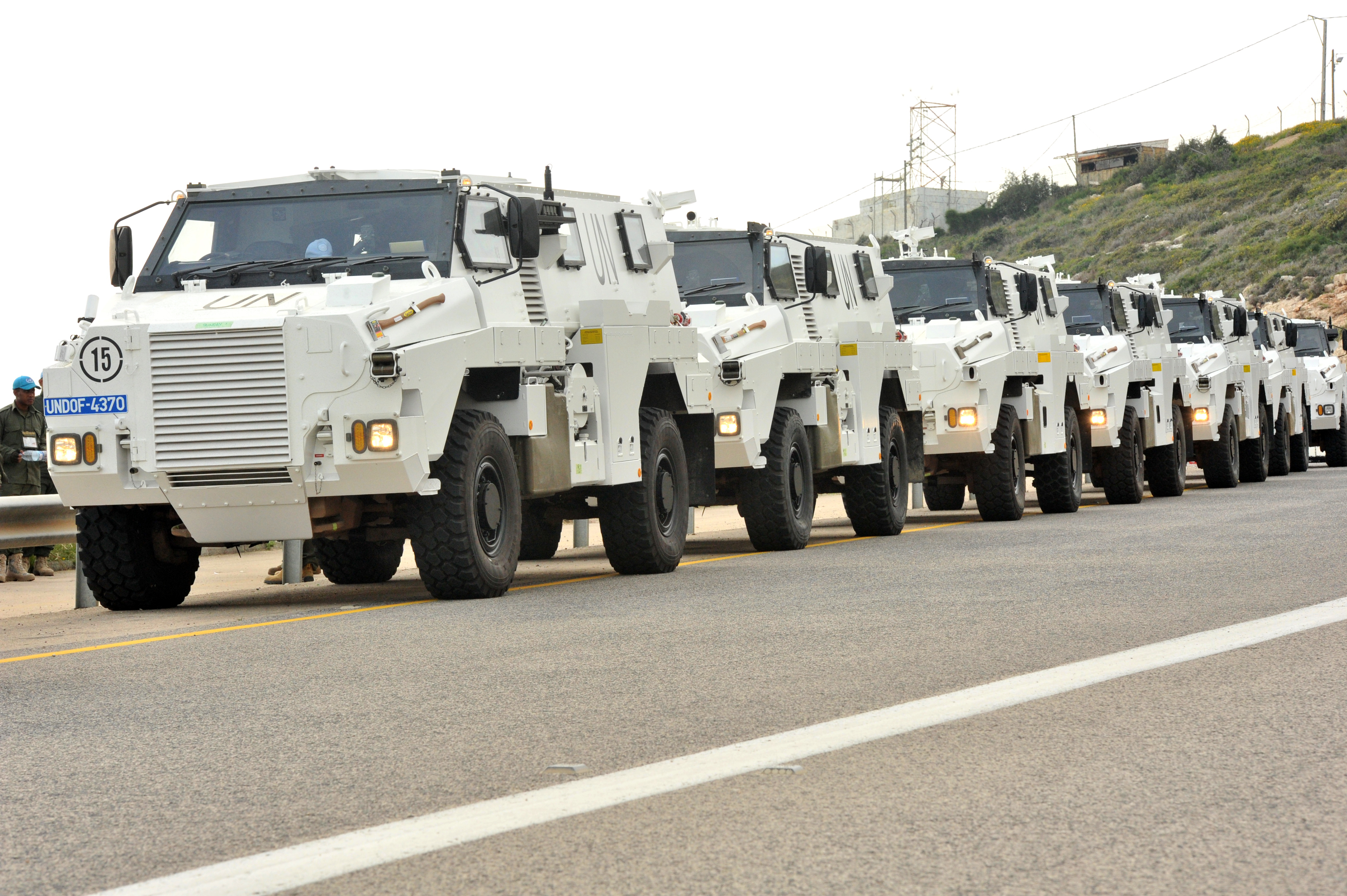Bushmasters outside Rosh Hanikra border ready to depart for Camp Ziouani in Golan Heights