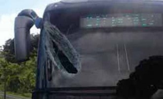 Bus Driver in Hospital After Flying Rod Hits Windscreen