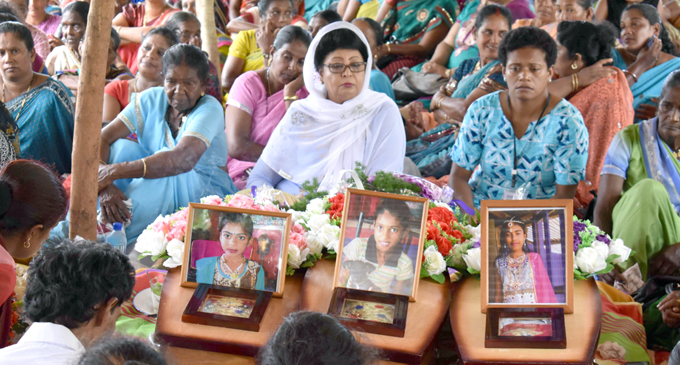 The Assistant Minister for Children, Women and Poverty Alleviation Veena Bhatnagar at the funeral of the Kumar sisters in Boca, Bulileka yesterday. Photo: Josaia Ralago.