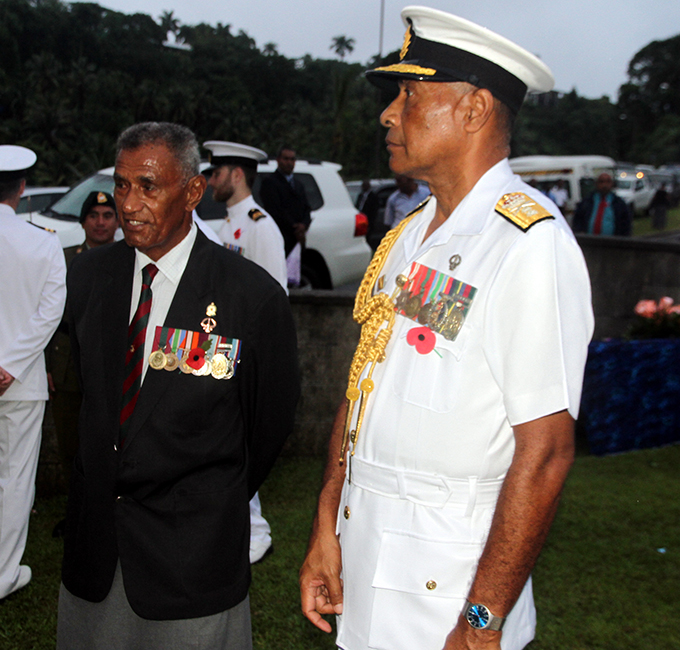 Ex-serviceman representative Saweio Raura(left) and Fiji Military Force Commander Rear Admiral Viliame Naupoto(right) during the ANZAC day dawn service on April 25, 2017.Photo:Vilimoni Vaganalau.