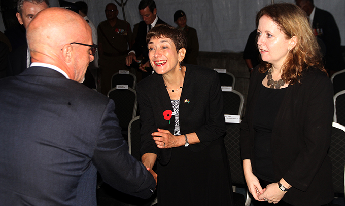 From left: NZ High Commissioner to Fiji Mark Ramsden,US Ambassador to Fiji Judith Cefkin ,British High Commissioner to Fiji Melanie Hopkins during the ANZAC day dawn service on April 25, 2017.Photo:Vilimoni Vaganalau.