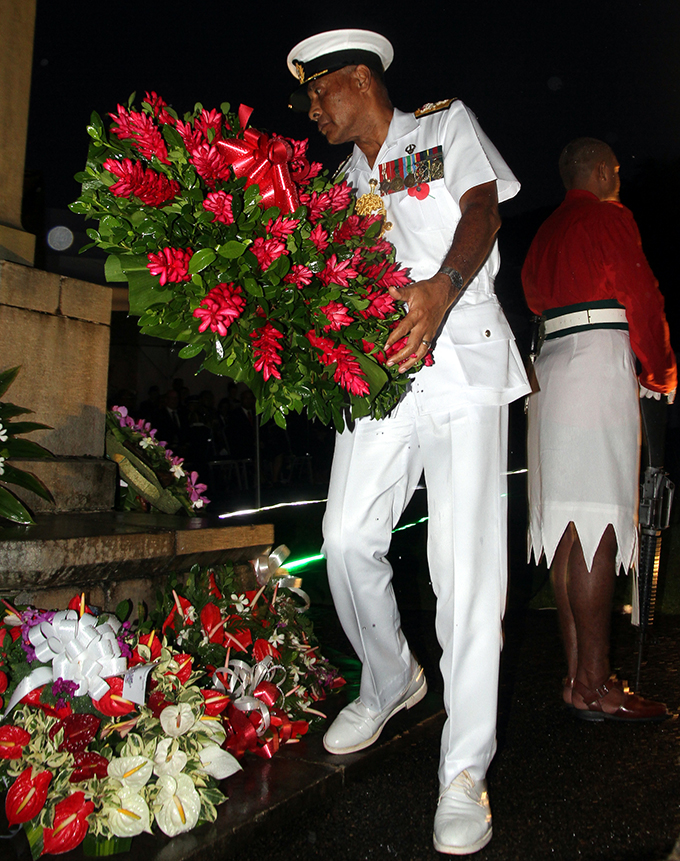 Republic of Fiji Military Forces Commander Rear Admiral Viliame Naupoto at the ANZAC Day Dawn Service on April 25, 2017.  Photo: Vilimoni Vaganalau