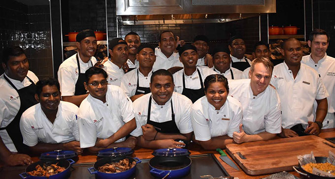 Christian Knecht (far right) is proud to be the first executive chef with his team at the Fiji Marriott Resort Momi Bay Photo: WAISEA NASOKIA