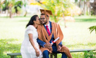 Proud Mother Wears Gown Before Son Graduates