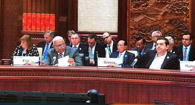 Prime Minister Voreqe Bainimarama (front, left), called on world leaders to engage with Pacific island nations to address the threat of climate change in the region and to defend the Paris Agreement on climate change during the Belt and Road Forum for International Co-operation. Photo: DEPTFO News