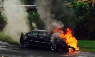 Family Safe From Burning Car