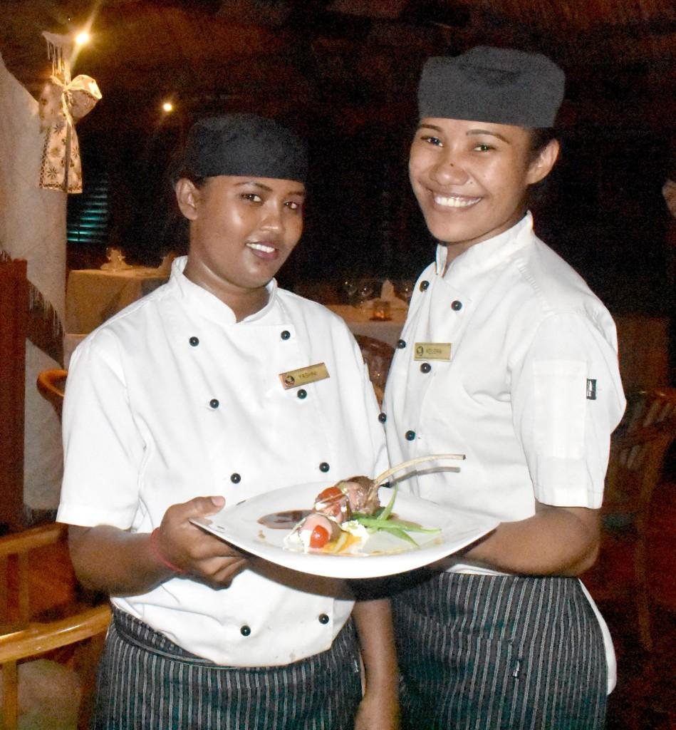 Multi Award Winning Fine Dine 'IVI' Restaurant Chefs; Yashni Goundar and Adi Kelera. Photo: WAISEA NASOKIA