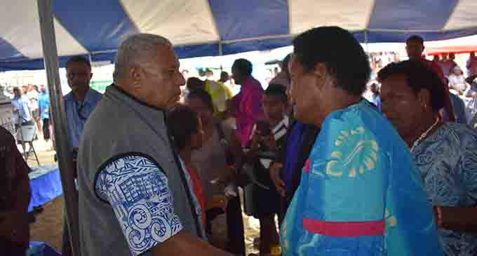 Prime Minister Voreqe Bainimarama in discussion with attendants of the groundbreaking ceremony in Rakiraki on May 8, 2017. Photo: Charles Chambers
