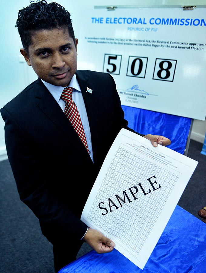 Supervisor of Election Mohammed Saneem shows the sample ballot paper that will begin with 508 for the 2018 general election. Photo:Jone Luvenitoga