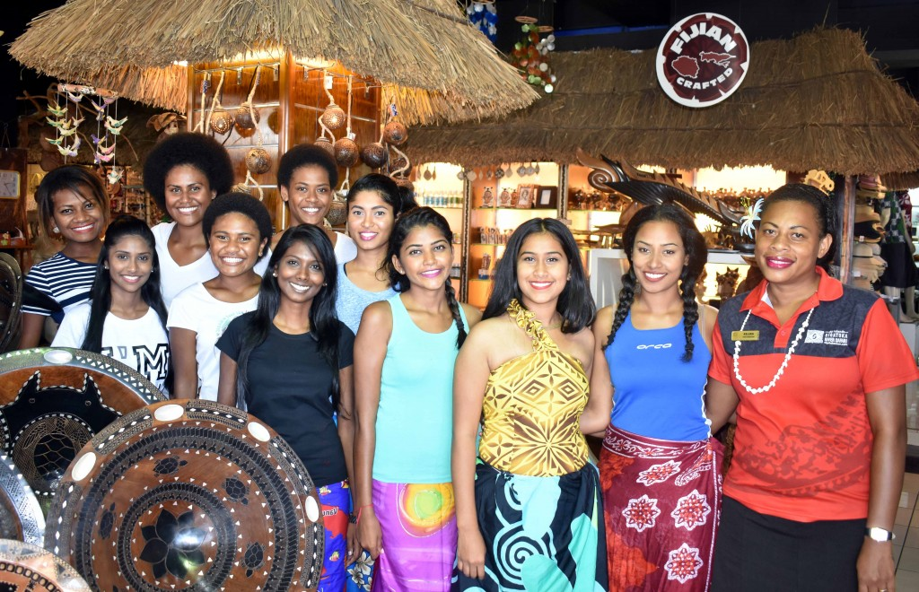 Miss Fiji World contestants with staff of Sigatoka River Safari in the Sigatoka valley yesterday. Photo: WAISEA NASOKIA