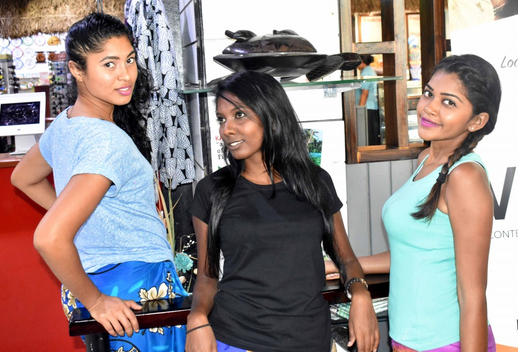 Miss Fiji World contestants Neha Narayan, Ashwinta Narayan and Achal Narayan in Sigatoka town yesterday. Photo: WAISEA NASOKIA