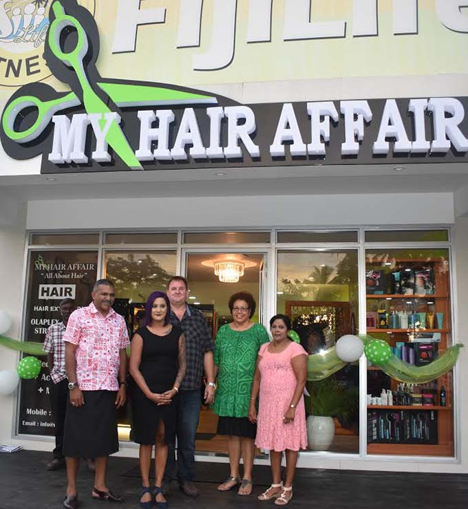 Minister for Industry, Trade and Tourism, Lands and Mineral Resources Faiyaz Koya, Ajneeta Herbert, Tony Herbert, with friends during the opening of the My Hair Affair salon in Martintar, Nadi on Tuesday, May 2, 2017. Photo: WAISEA NASOKIA.