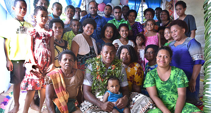 Family members of Vodafone Fijian 7s rep Paula Dranisinukala accorded a traditional welcoming ceremony at his family home in Kinoya, Nasinu, on May 28, 2017. Photo: Jone Luvenitoga