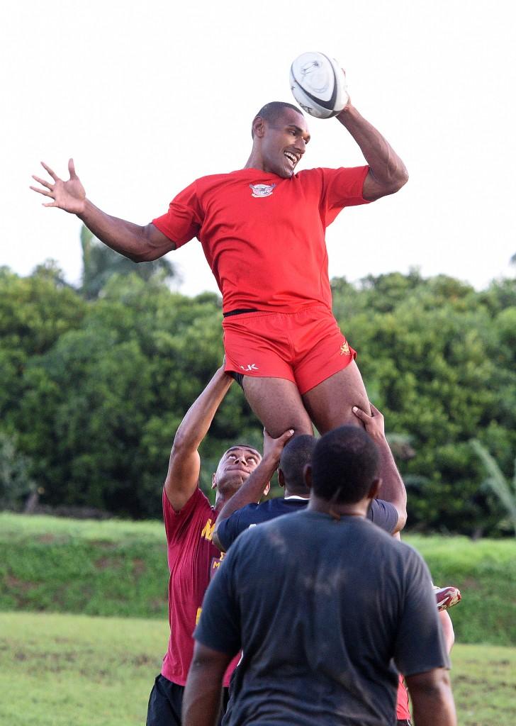 Suva's Apisai Tauyavuca wins a lineout during training on May 10, 2017 in Suva. Photo: Ronald Kumar
