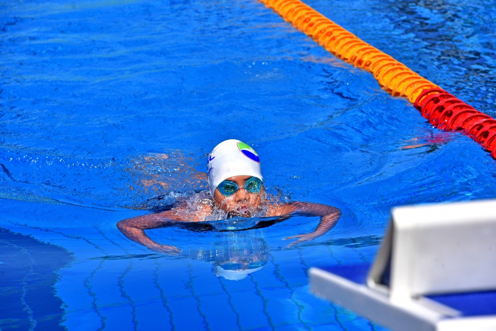 Jade Chang wins her heats in the breaststroke competition. Photo:Jone Luvenitoga