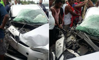 Couple in Hospital after Car Crashes into Bus head-on near Nadi