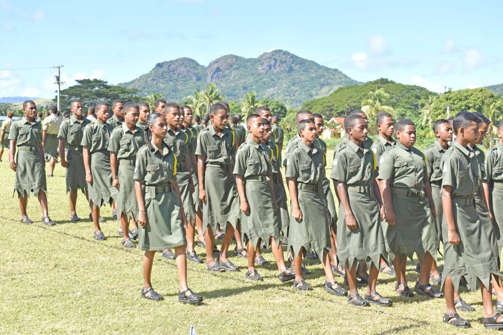 All Saints Secondary School students in action during their  cadet pass-out parade. Photo: Josaia Ralago