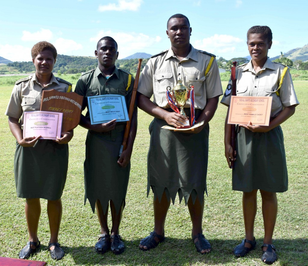 (From left) Award getters Marica from the Detachment One platoon, Nemani Beitaki, Mosese Seru and Paulini Rosi.  Photo: Josaia Ralago