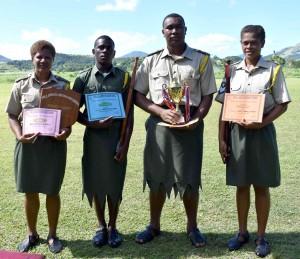 (From left) Award getters Marica from the Detachment One platoon, Nemani Beitaki, Mosese Seru and Paulini Rosi.  Photo: Josaia Ralago