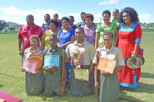 The Award getters with their families and friends during at the pass-out parade in All Sainits Secondary School in Labasa on 26.05.17. Photo: Josaia Ralago
