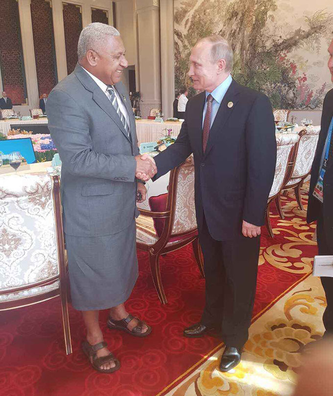 Prime Minister Voreqe Bainimarama with the President of Russia Vladimir Putin in Beijing, China, on May 16, 2017. Photo: DEPTFO News