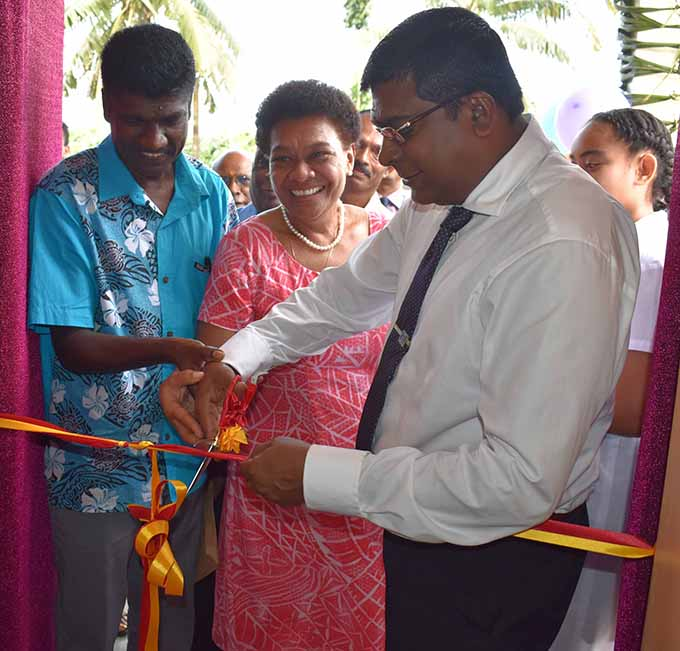 From right: Minister for Education, Heritage and Arts Mahendra Reddy, Labasa Sangam College principal Luisa Ratuvuku and TISI Sangam Labasa president Shalen Chetty open the four new classrooms at Labasa Sangam College on May 17, 2017.  Photo: Shratika Naidu