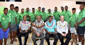 Jacks of Fiji Group Chairman Dilip Khatri (second from left) ,  Navneeda Gounder with players of the Nadi Football side. Photo: WAISEA NASOKIA
