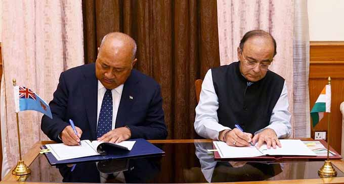 Indian Defence Minister Arun Jaitley and Minister of Defence and National Security, Ratu Inoke Kubuabola on May 29,2017