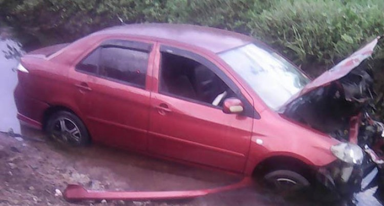 Car Lands In Ditch, No  Serious Injuries Onboard