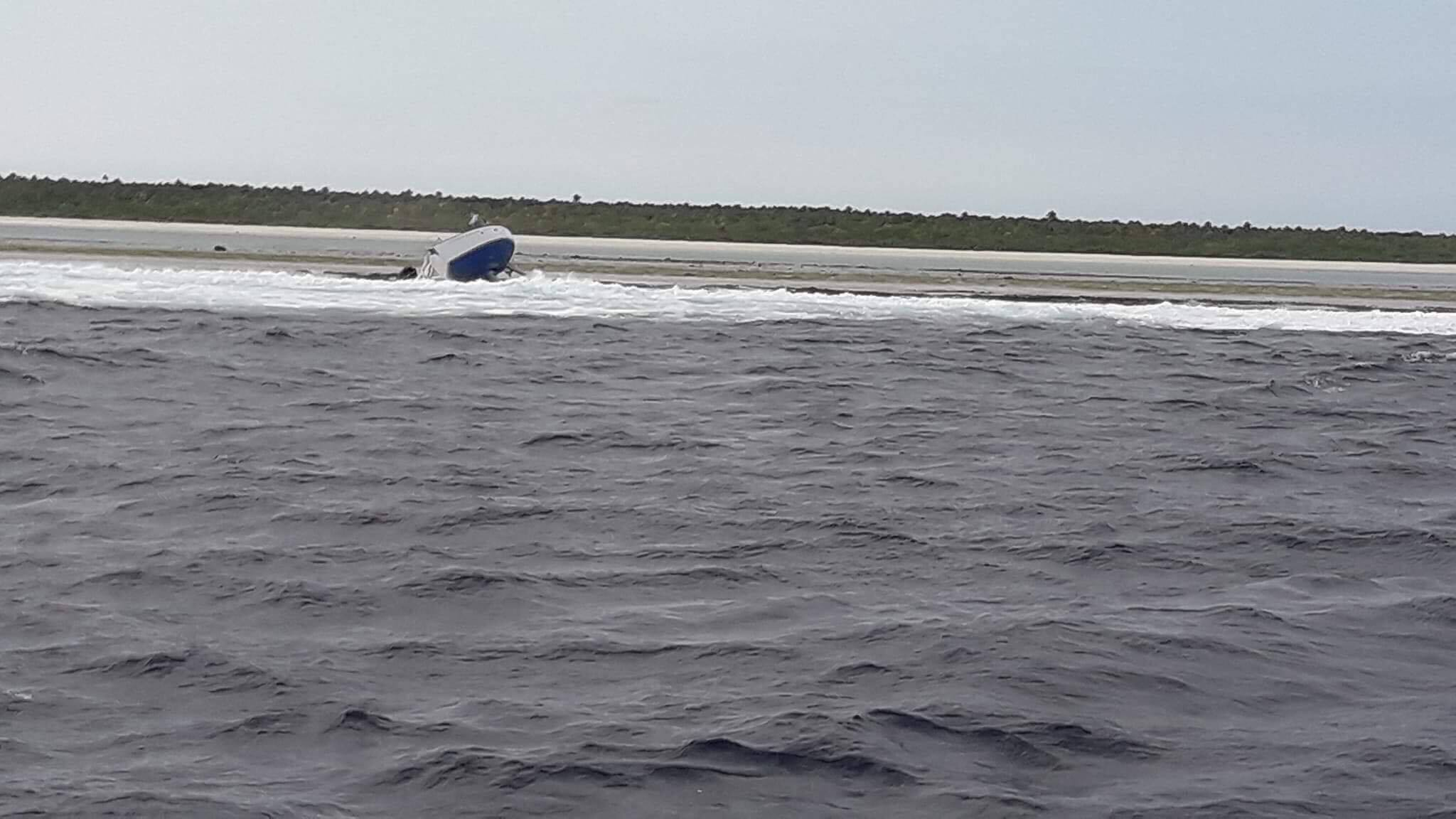 The yacht, Jungle, which ran aground on Tuvana-I-Ra reef near Ono-i-Lau on the early hours of Friday morning. Photo: Ben Dreuvakanabalawa/Fiji Navy