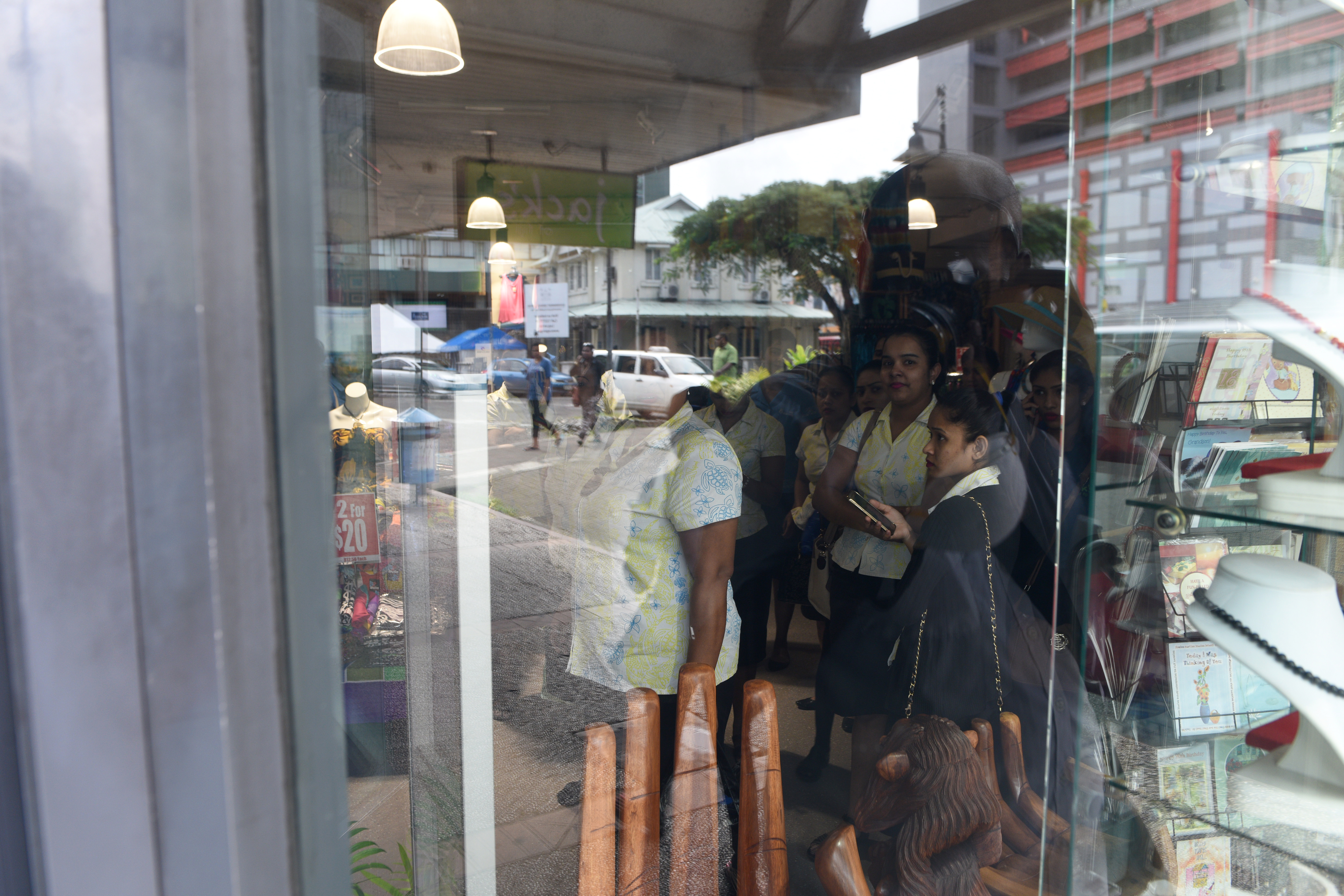 Concerned look on the faces of Jacks shop in Suva as orders were received for the closure due to asbestos threats. Photo:Jone Luvenitoga