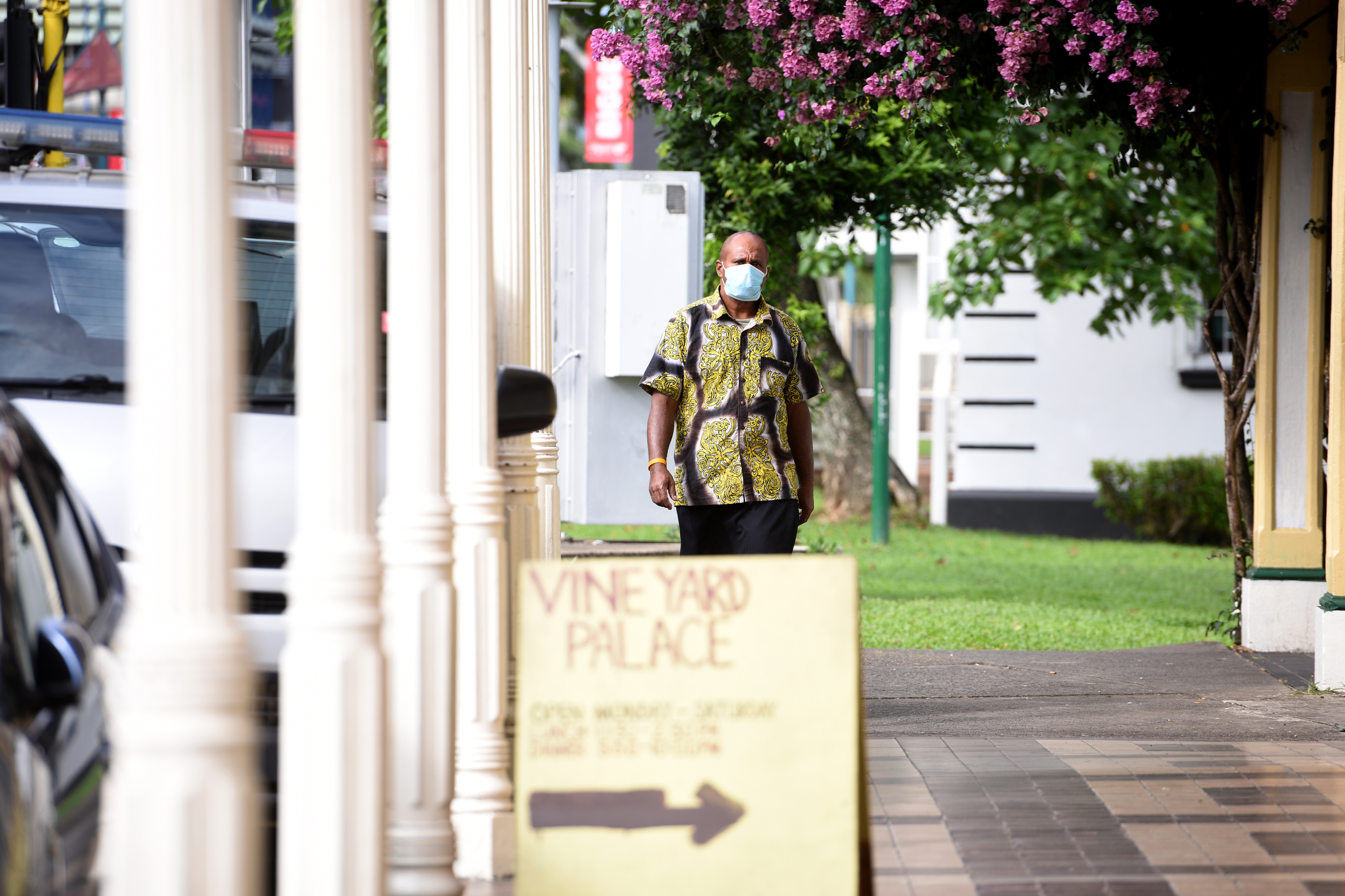 A man walks along Victoria Parade in Suva with his safety breathing mask. Photo:Jone Luvenitoga