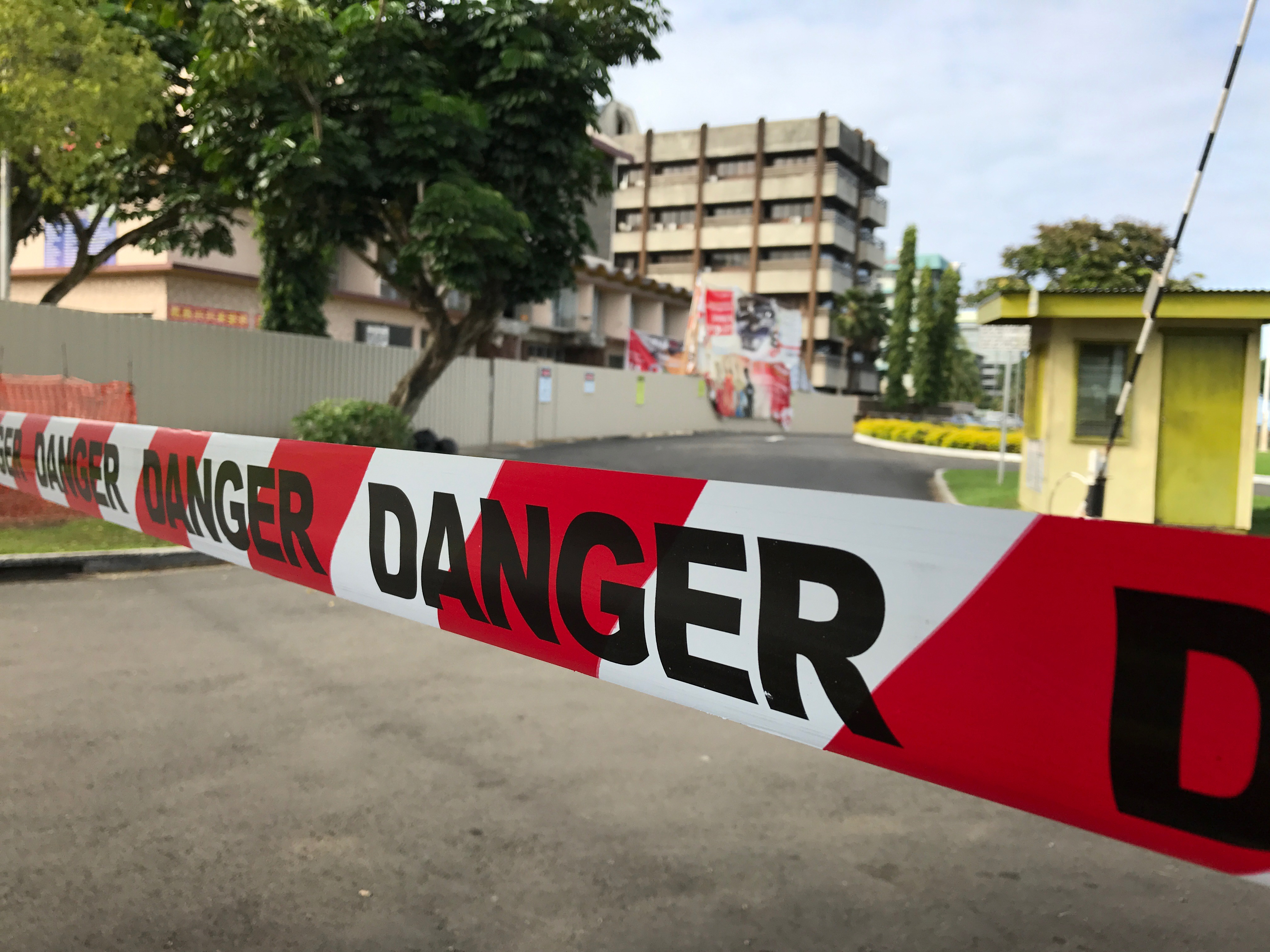 Th cordoned off danger area of the Civic Center from its entrance along Stinson Parade on Friday June 2nd, 2017. Photo:Ashna Kumar